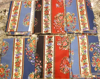 Brunschwig and Fils Fabric, Kapli Stripe Pattern, Cotton Fabric, Vintage fabric, Designer Fabric, Sewing, 6 PIeces, red, black, blue, floral