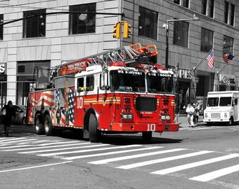 New York Fire Truck Print, New York photography, NYC Photography, New York photography, New York Engine, NYC Fire Truck, Gifts for him,