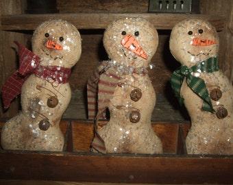 Primitive Trio Grungy Winter Snowmen Snowman Christmas Frosty Bowl Filler Ornies OFG & HAFAIR Teams