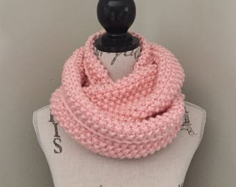 Knit infinity scarf, knitted scarf in pink