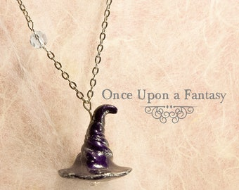 Silver purple witch Hat necklace and beads - Once Upon a Fantasy