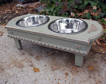 Medium Size Elevated Dog Bowl Feeder - Dusty Olive, 2 Two Quart Stainless Bowls, Cottage Chic Pet Feeder Made to Order