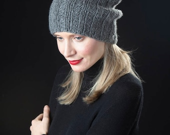 Slouchy Cashmere Hat with Pompom