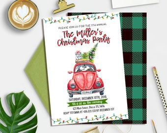 Vintage Christmas Invitation, Holiday Party Invitation, Printable Holiday Invitation, Tree Christmas Party Invite,  Retro Holiday Party