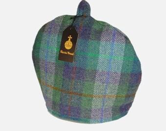 Harris Tweed tea cosy, teapot cover green and purple fabric tea cozy.