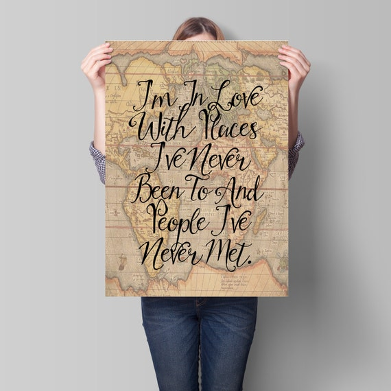 World map poster travel quote motivational wall map art like this item gumiabroncs Image collections