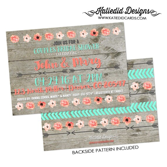 Couples shower Invitation bridal BOHO tribal I do BBQ engagement party stock the bar floral rustic mint coral baby coed | 359 katiedid Cards