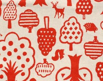 Kokka Woodland Wonderland in Tomato on Natural Linen Japanese Textile