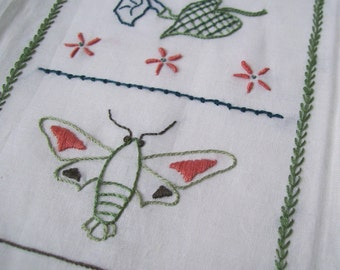 Hand Embroidery Sampler, Mini Sampler with Hummingbird Moth