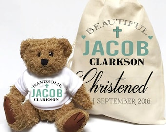 Christening Gift | Baby boy personalised teddy bear and gift bag set.