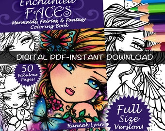 PDF DIGITAL Printable Coloring Book Enchanted Faces All Ages Fantasy Mermaid Fairy Art by Hannah Lynn
