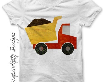 Dump Truck Iron on Shirt PDF - Kids Boys Iron on Transfer / Boys Dump Truck Shirt / Baby Clothes Boy Shirt / Boutique Toddler Clothing IT179