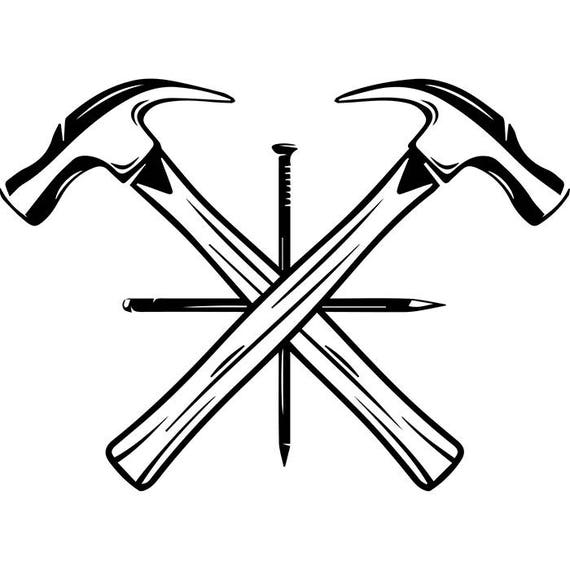 Woodworking Logo #7 Hammer Nail Crossed Carpenter Tool