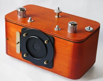 handcrafted wooden pinhole camera, medium format, panoramic 6x17cm frame size