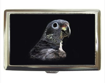 Bronze Wing Pionus Parrot Bird Money Cigarette Case Chrome Holder Wallet