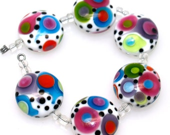 Lampwork glass beads (6) white with colorful dots lampwork beads SRA Made to order, jewelry supplies, handmade lampwork, beads