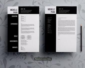Minimal CV template/ cover letter/resume template  / 1 page resume / professional CV/ professional resume/word resume template/modern resume