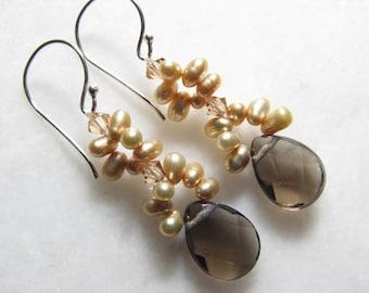 Smokey Quartz & Champagne Freshwater Pearl Earrings