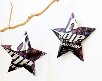 Amp Energy Choice of Red, Green or PurpleTraction Stars Christmas Ornaments Soda Can Upcycled