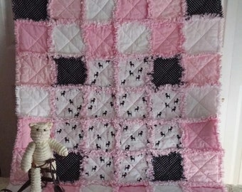 French Poodles & Pink ~  Rag Style Baby Quilt