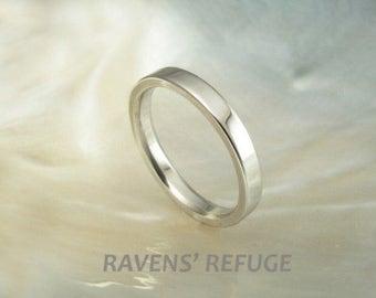 2.5mm platinum pipe band / wedding band / stacking ring, handmade