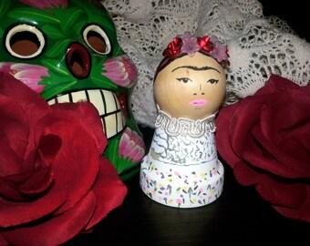 Frida Kahlo Hand Painted Terra Cotta Doll