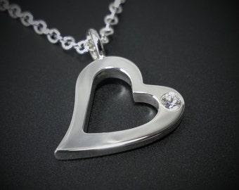 Swarovski Gemstone Open Heart Necklace Pendant in Sterling Silver, Cubic Zirconia Heart Necklace, CZ Heart Pendant, Silver Heart Pendant