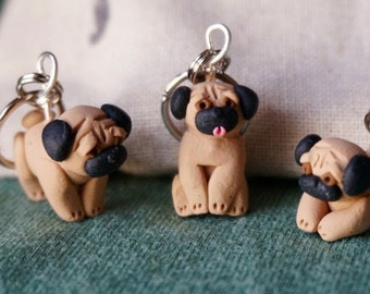 Pug Stitch Markers Miniature Sculpted Polymer Clay Animal Charms Knit Crochet Accessories set of 4