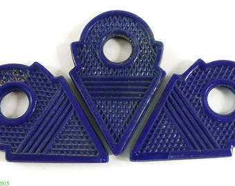 3 Talhakimt Trade Bead Pendants Blue Africa 95733
