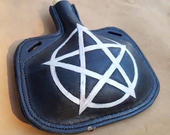 READY TO SHIP Leather Bottle - Pentacle Hand Tooled Hand Stitched Small Black Leather Flask - Pagan Renaissance Medieval Water Canteen