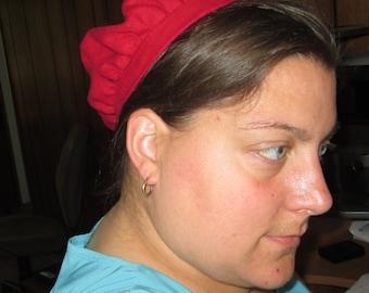 Red Linen Caul / Small Muffin Cap - SCA