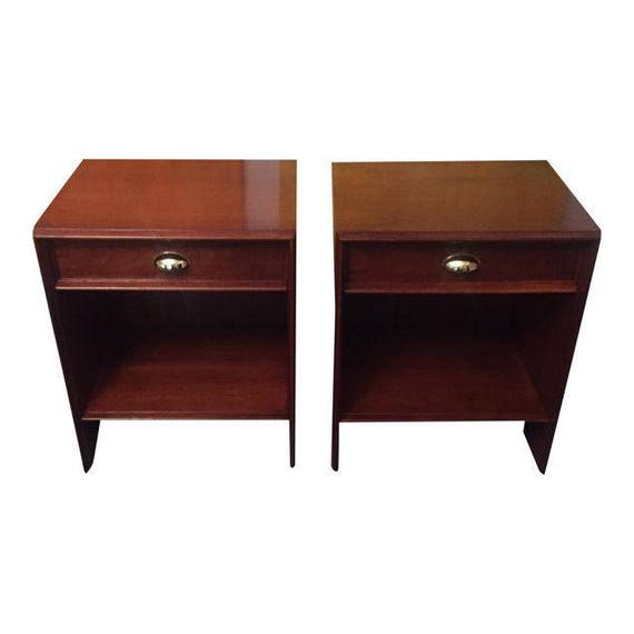 Pair refinished Mid-century walnut night stands/end tables with one drawer by John Widdicomb