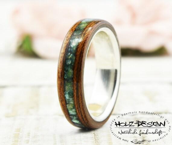 925 Silber Bentwood Verlobungsring mit Perlmutt Trauringe Holz