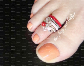 Stacking Toe Ring, Stacking Rings, Crystal Charm Ring, Red Grey Pink Bead Ring, Stretch Bead Toe Ring