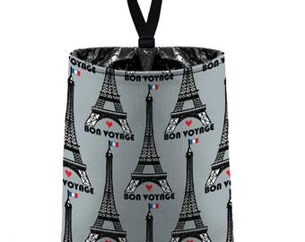 Car Trash Bag (Eiffel Tower Grey) // Auto Trash Bag // Car Accessories // Car Litter Bag // Car Garbage Bag - Paris // Car Organizer France