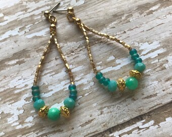 Ocean blues and greens earrings with gold