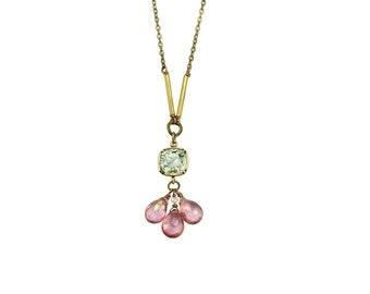 Budding Florescene SWAROVSKI Crystal and Mystic Pink Quartz Necklace