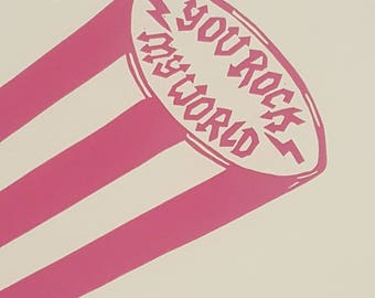 You Rock My World: Stick of Rock A4 handprinted lino print wall art