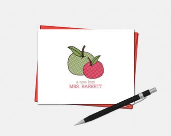 Personalized Apple Note Cards - Teacher Gifts - Apple Gift - Set of 10 - Folded Note Cards - Polka Dot Apple Stationery for Teacher