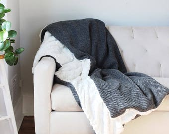 Charcoal Wool Throw | Charcoal Grey and Ivory Blanket | Soft Bed Throw | Faux Fur and Oatmeal Wool Sofa Blanket {Knit Wool & Faux Fur Throw}