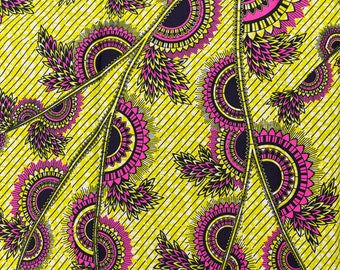African Material Dresses Real Wax Yellow Red Black Leaves and Circle rw717102