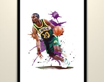 Gary Payton ( Seattle SuperSonics ) Basketball Poster Wall Art Print Poster Watercolor Effect Painting Home Decor, Birthday Gifts