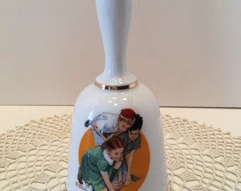 Norman Rockwell Bell ~ Knuckles Down ~ Limited Edition ~ The Danbury Mint ~ W Germany ~ Vintage