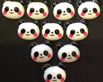 Resin Flatback Panda Embellishments 10 pcs