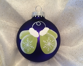 Purple Hand painted Christmas Ball