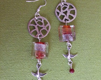 Red square bead with silver leaf earrings