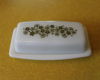 Vintage Pyrex Butter Dish with Green Flowers, Spring Blossom Butter Dish, Green Crazy Daisy Butter Dish, Retro Butter Dish