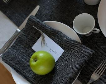 Set of 2 Herringbone Black Linen Napkins, Dinner Napkins, Cloth Dinner Napkins, Napkins Cloth, Linen Dinner Napkins, Everyday Cloth Napkins