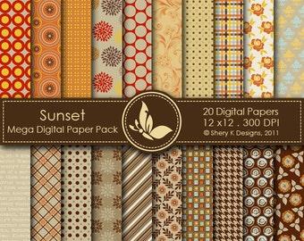 Sunset Mega Paper Pack - 20 Digital papers - 12 x12 - 300 DPI