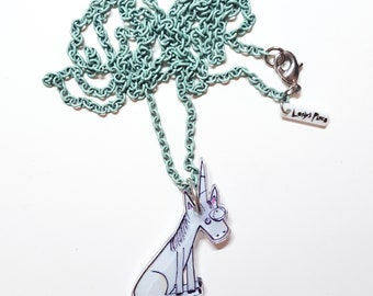 Magical Unicorn on Vintage Mint Green Chain
